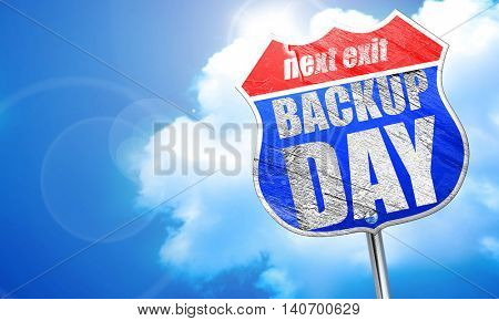 backup day, 3D rendering, blue street sign