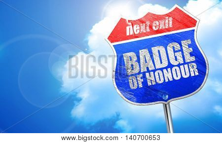 badge of honour, 3D rendering, blue street sign