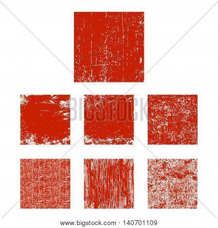 Set of red grunge square. Vector illustration.