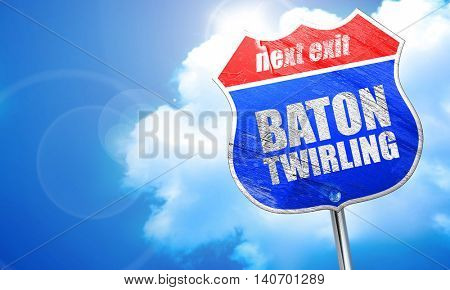 baton twirling, 3D rendering, blue street sign
