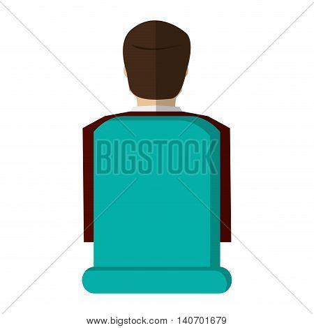 flat design businessman rearview icon vector illustration