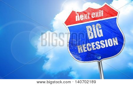 Recession sign background, 3D rendering, blue street sign