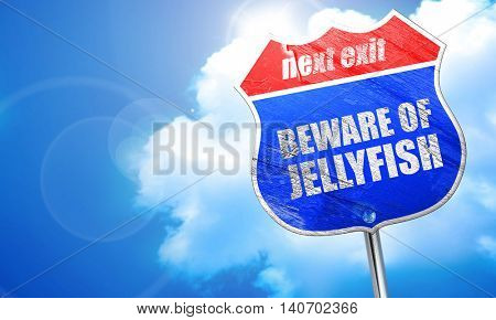 beware of jellyfish, 3D rendering, blue street sign