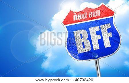bff, 3D rendering, blue street sign