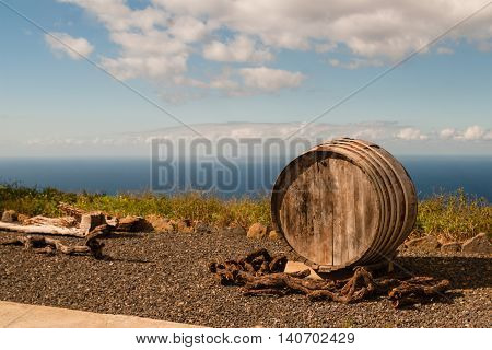wine barrel dried in the sun on wineyard