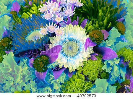 blooming flowers colorful bouquet background