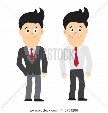 Isolated smiling businessman standing on white background. Set of two businessman. Concept of manager and office worker.