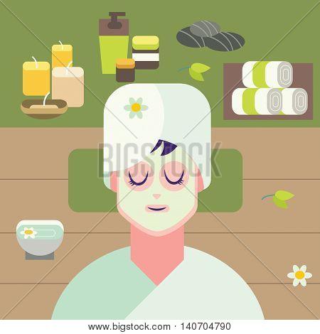 Concept flat design illustration for spa treatment.