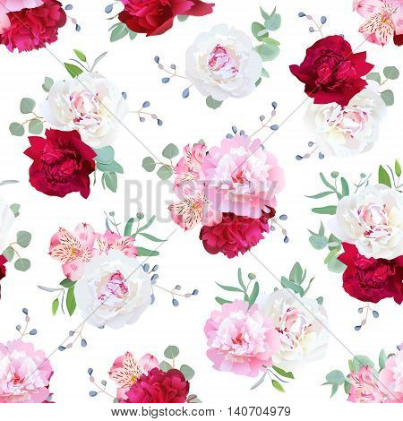 Luxury floral seamless vector print with peony alstroemeria lily mint eucaliptus and blue berries on white. Pink white and burgundy red flowers.