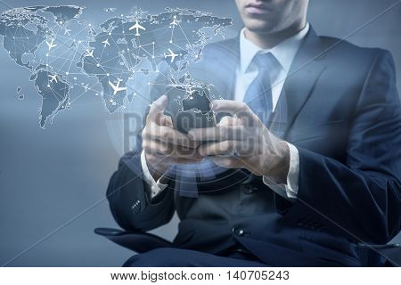 Concept of online booking with businesman and smartphone