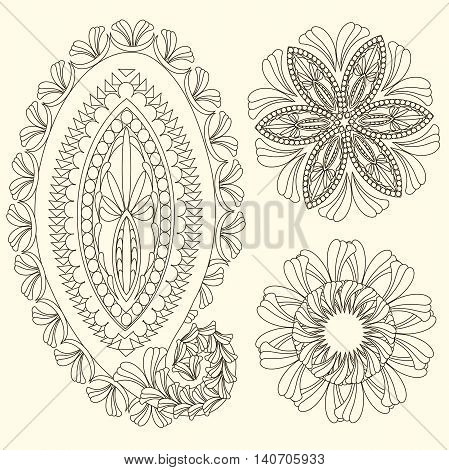 Set of cute paisley pattern, Turkish cucumber,  for design of fabrics, tableware, wallpaper, isolated, vector