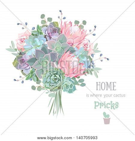Green colorful succulents vector design set. Echeveria protea eucaliptus. Bouquet in modern funky style. All elements are isolated and editable.