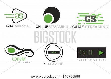 game, online stream logo in black and green tones