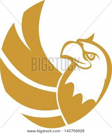 stock logo gold eagle bird circular flying