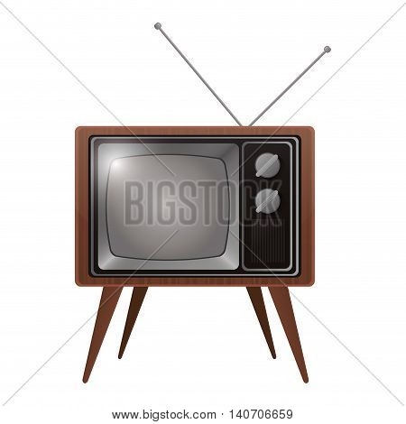 flat design retro classic tv with antenna icon vector illustration