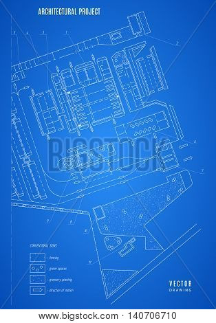 architectural blueprint technical drawing construction plan or project on the blue background. stock vector illustration eps10