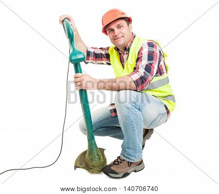 Adult Constructor Fixing Lawn Trimmer