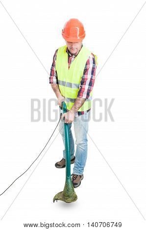 Male Constructor Using Lawn Mower For Cutting Grass