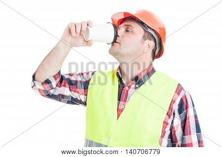 Male Engineer Drinking Hot Coffee