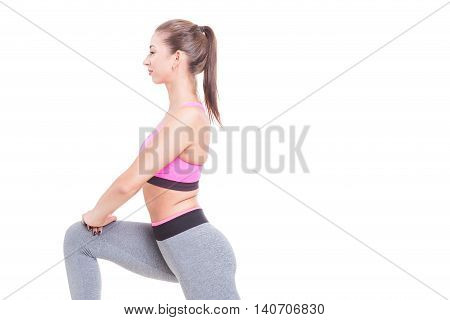 Close-up Of Woman Doing Lunges With One Leg