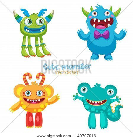 Cute Monsters Vector Set. Lucky Cartoon Mascot Illustration. Vector Funny Fantastic Animals. Happy Toys On A White Background. Theme For Kids T-Shirt.