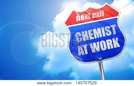 chemist at work, 3D rendering, blue street sign