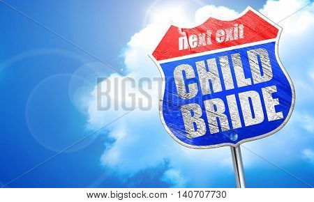 child bride, 3D rendering, blue street sign