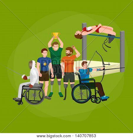 Disable Handicap Sport Games Stick Figure Pictogram Icons vector