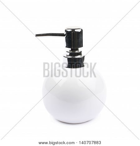 White ceramic liquid soap dispenser isolated over the white background