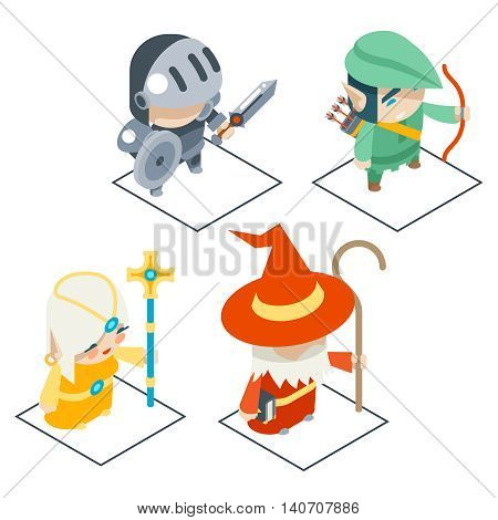 Isometric Fantasy Game Character Vector Icons Set Vector Illustration