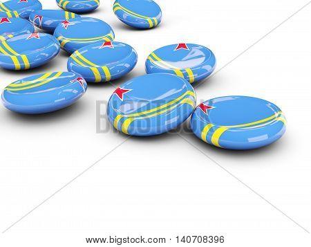 Flag Of Aruba, Round Buttons