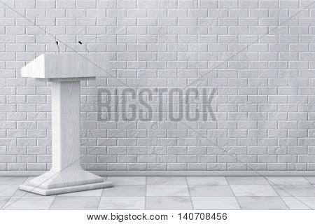 White Podium Tribune Rostrum Stand with Microphones in front of Brick Wall. 3d Rendering