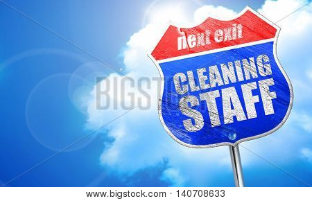 cleaning staff, 3D rendering, blue street sign