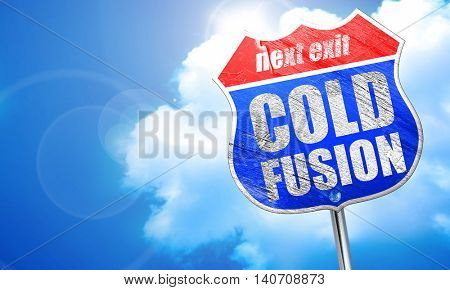 cold fusion, 3D rendering, blue street sign