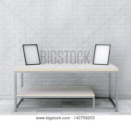 Simple Wooden Cocktail and Coffee Table with Blank Photo Frames in front of brick wall. 3d Rendering