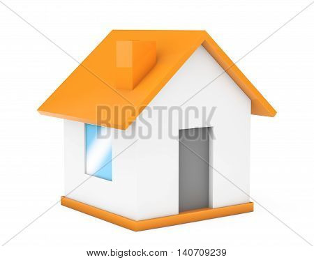 Cartoon Simple Small House on a white background. 3d Rendering