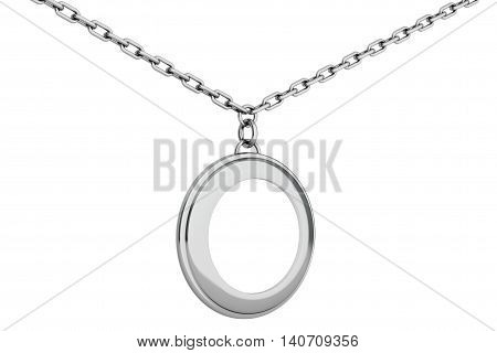 Silver Medallion on chain with Blank Space for Your Photo over white background. 3d Rendering