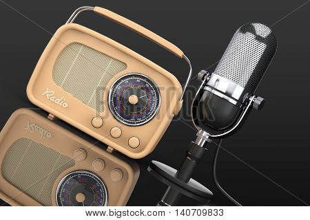 Retro Radio and Vintage Microphone on a black background. 3d Rendering