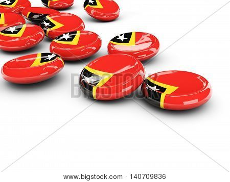 Flag Of East Timor, Round Buttons