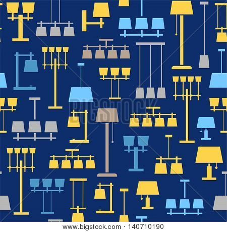 Lamps ceiling, table, floor, background, seamless, blue. Vector background with images of various types of lamps. Yellow, grey and light blue, flat image on a blue background.