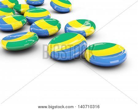 Flag Of Gabon, Round Buttons