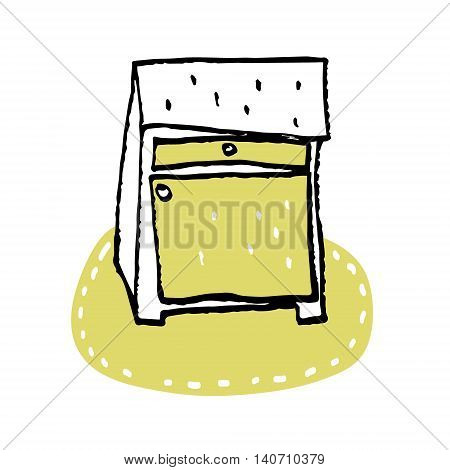Nightstand bedside table household furniture interior design bedroom vector.