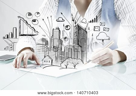 Construction expertise concept . Mixed media