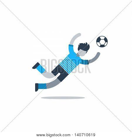 Soccer player, football goalkeeper catching ball. Flat design vector illustration, isolated on white