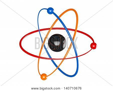Multicolour Atom Molecule Icon on a white background. 3d Rendering