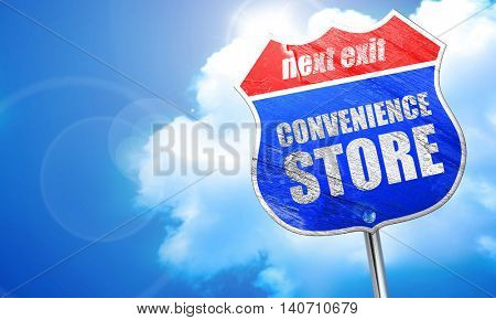 convenience store, 3D rendering, blue street sign