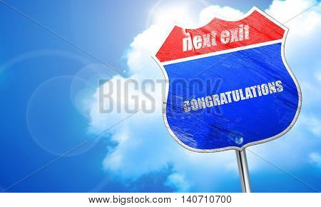 congratulations, 3D rendering, blue street sign