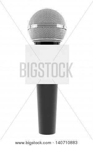 Wireless Microphone with Blank Box on a white background. 3d Rendering