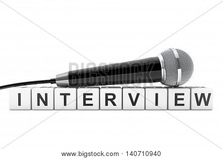 Microphone over Interview Cube Sign on a white background. 3d Rendering