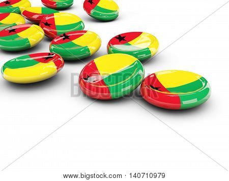 Flag Of Guinea Bissau, Round Buttons